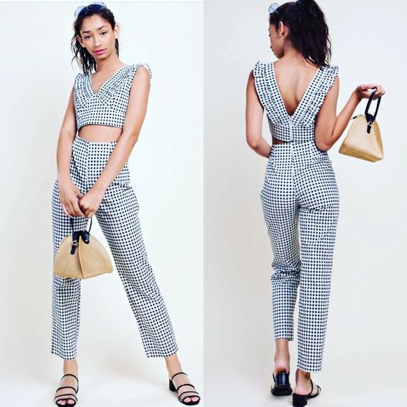 Black and white pants set
